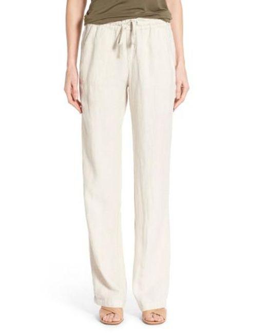 Caslon Caslon Drawstring Linen Trousers In Natural For Men