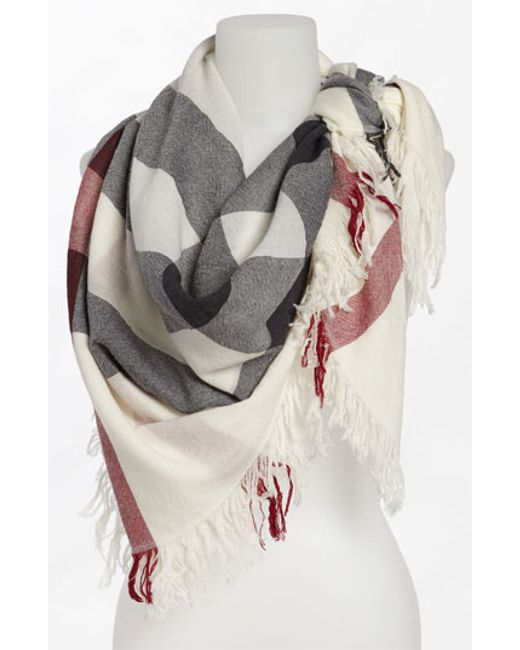 Burberry | Gray Check Merino Wool Scarf | Lyst