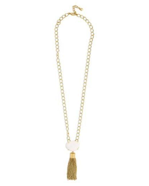 BaubleBar | White Carisma Chain Link Tassel Pendant Necklace | Lyst