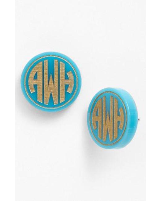 Moon & Lola | Blue 'chelsea' Medium Personalized Monogram Stud Earrings (nordstrom Exclusive) | Lyst
