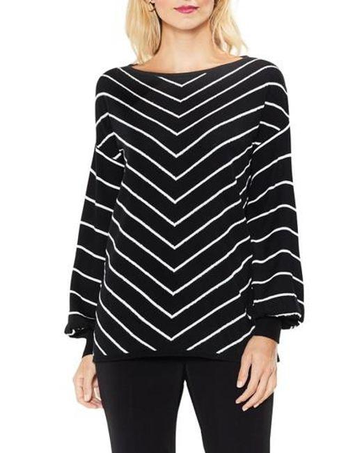 Vince Camuto   Black Long Sleeve Chevron Intarsia Sweater   Lyst