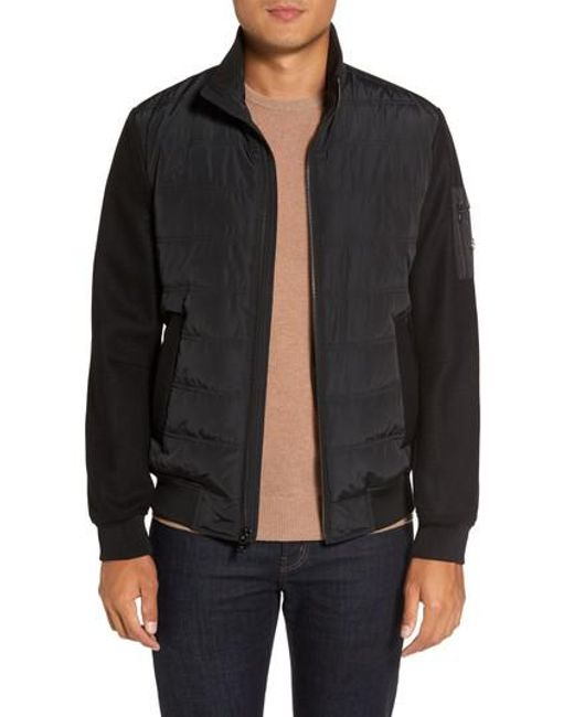 Michael Kors - Black Mixed Media Quilted Jacket for Men - Lyst
