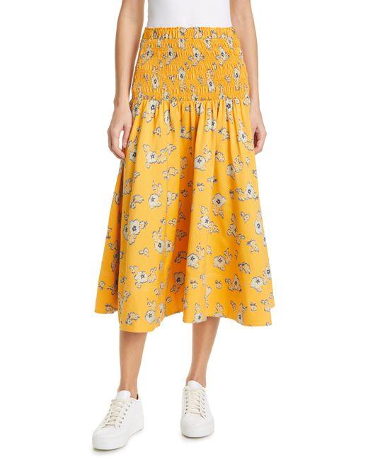 Tanya Taylor Yellow Lyla Floral Smocked Midi Skirt
