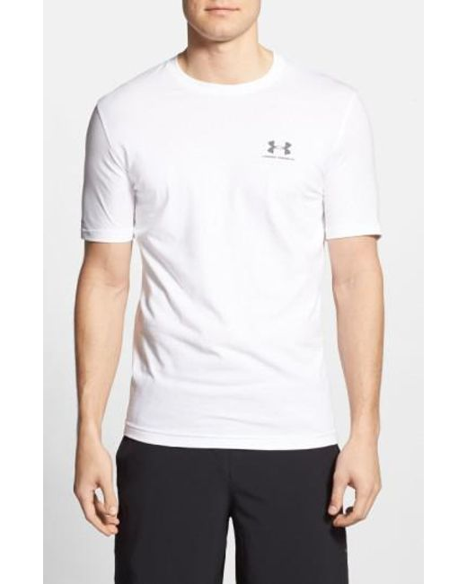 Under Armour - White 'sportstyle' Charged Cotton Loose Fit Logo T-shirt for Men - Lyst