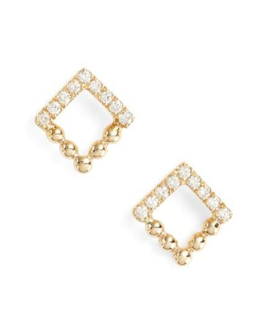 Dana Rebecca   Metallic Poppy Rae Square Diamond Stud Earrings   Lyst