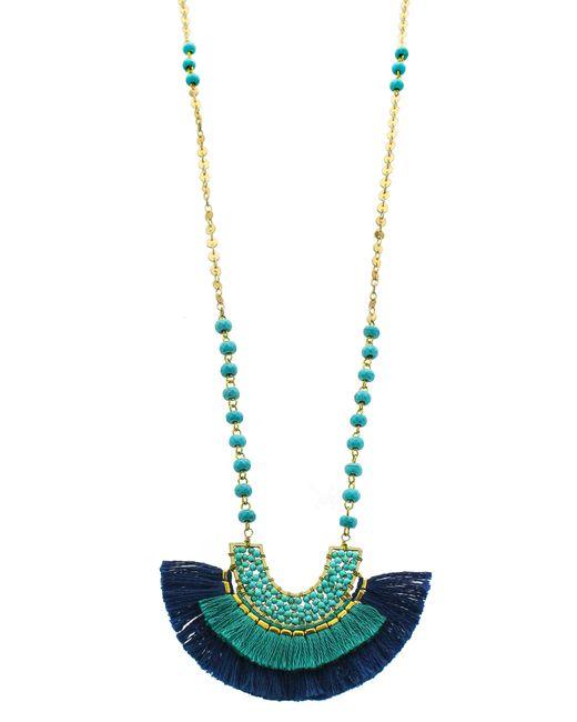 Panacea - Blue Fringe Pendant Necklace - Lyst
