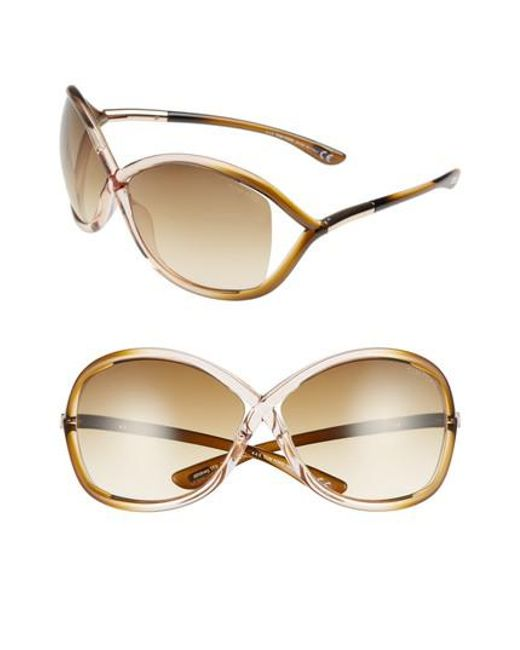 Tom Ford - Brown 'whitney' 64mm Open Side Sunglasses - Lyst