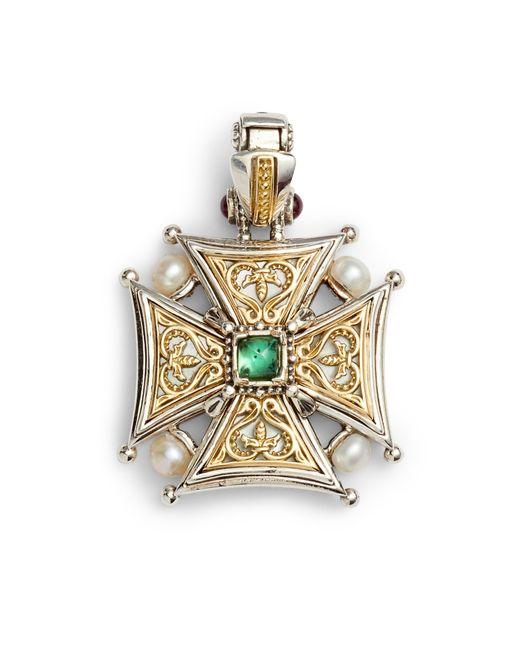 Konstantino Metallic Hestia Topaz Cross Pendant