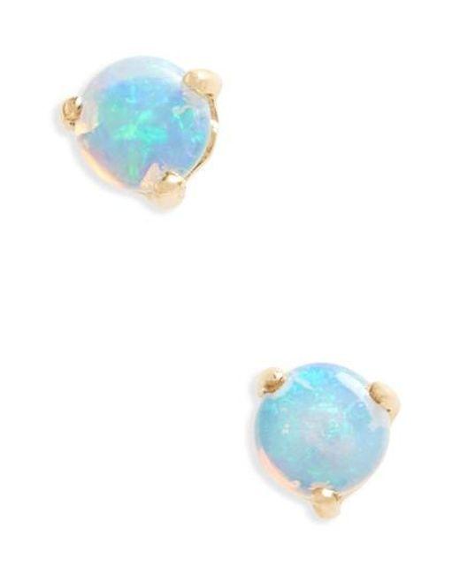 Wwake - Blue Small Opal Stud Earrings - Lyst