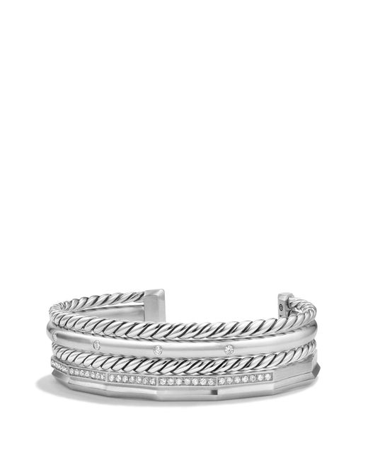 David Yurman Metallic Stax Cuff Bracelet With Diamonds