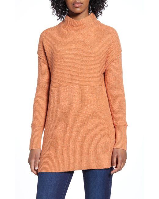 Caslon Orange Caslon Ribbed Tunic Sweater