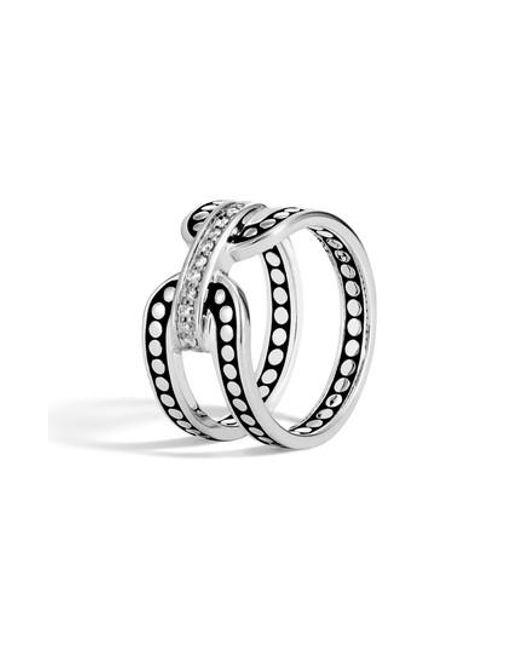 John Hardy - Metallic Dot Pave Diamond Openwork Ring - Lyst