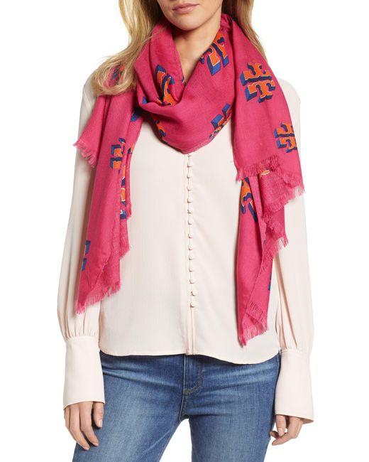 Tory Burch - Pink Flying Logo Wool & Silk Scarf - Lyst