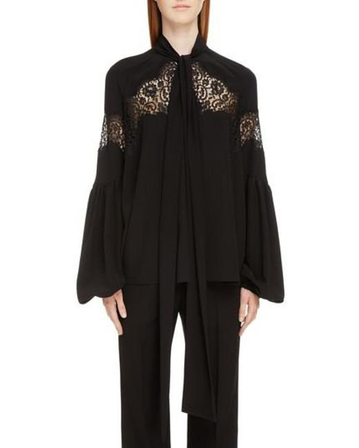 Givenchy - Black Lace Inset Silk Georgette Blouse - Lyst