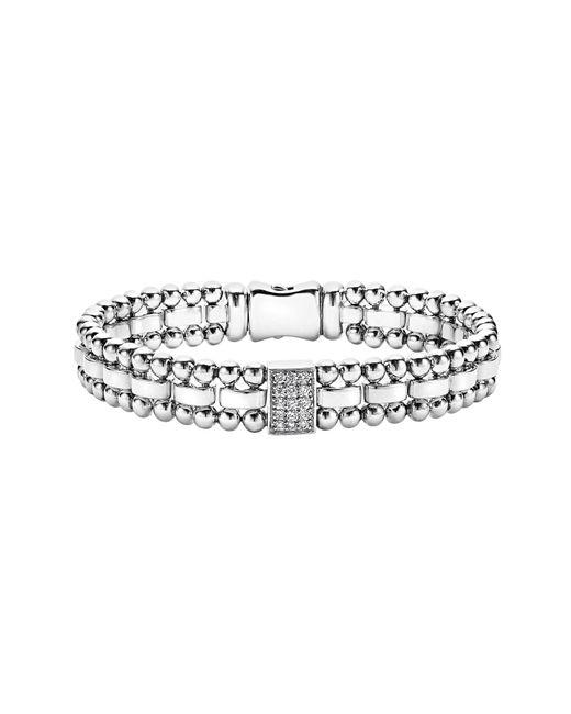 Lagos - Metallic Caviar Spark Diamond Rectangle Link Bracelet - Lyst