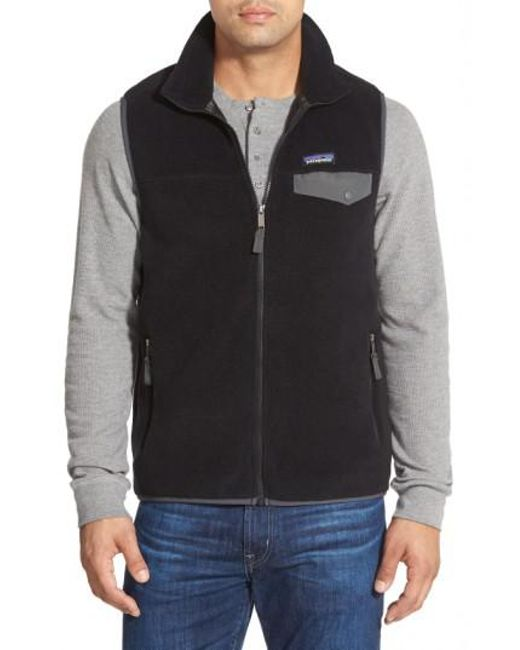 Patagonia | Black 'synchilla Snap-t' Zip Fleece Vest for Men | Lyst