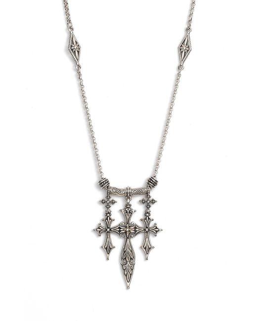Konstantino - Metallic 'penelope' Triple Cross Pendant Necklace - Lyst