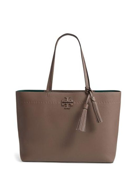 Tory Burch - Brown Mcgraw Leather Laptop Tote - Lyst