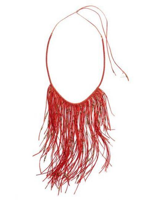 Serefina - Red Glistening Fringe Necklace - Lyst