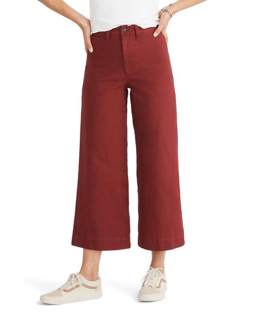 Madewell - Red Emmett Crop Wide Leg Pants - Lyst