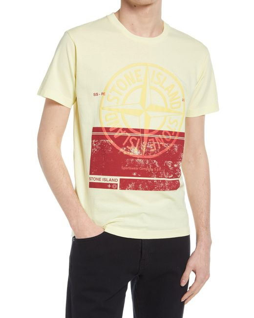 Stone Island Yellow Block One Graphic Tee for men