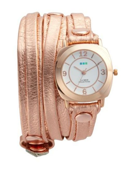 La Mer Collections | Metallic Odyssey Leather Wrap Strap Watch | Lyst