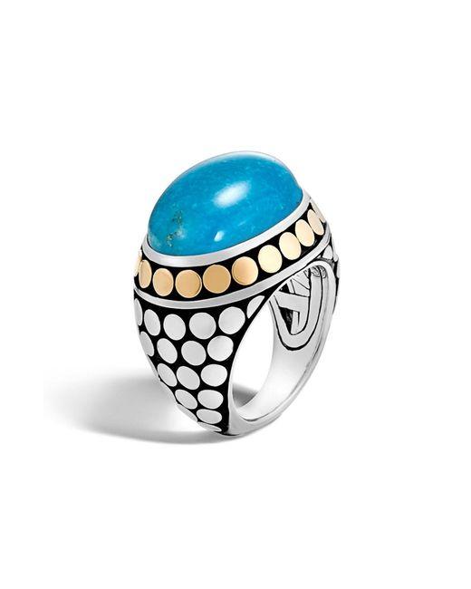 John Hardy - Metallic Dot Silver & Turquoise Dome Ring - Lyst