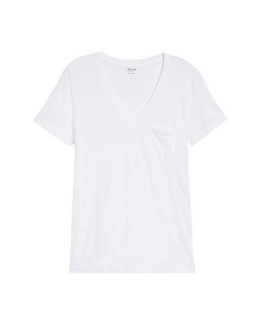 Madewell - White Whisper Cotton V-neck Pocket Tee - Lyst