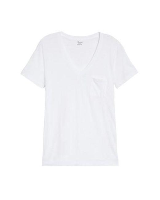 Madewell - White 'whisper' Cotton V-neck Pocket Tee - Lyst