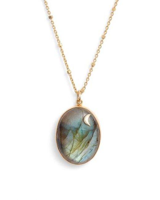 Argento Vivo - Metallic Moon Labradorite Pendant Necklace - Lyst