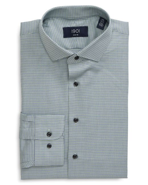 1901 Green Trim Fit Plaid Dress Shirt for men