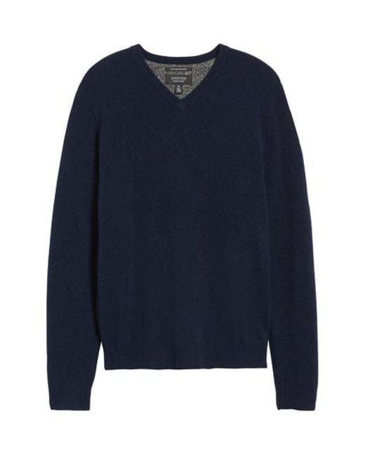 0e4dbe4095ba Lyst - Nordstrom Cashmere V-neck Sweater in Blue for Men