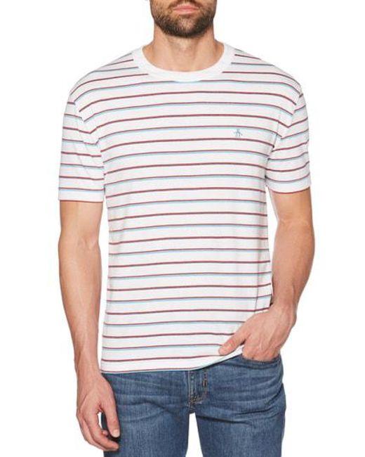 940d12bc8 Lyst - Original Penguin Striped Jaspe T-shirt in White for Men