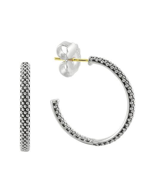 Lagos Metallic Caviar Hoop Earrings