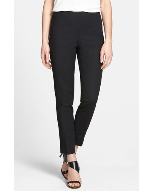 Vince Camuto | Black Side Zip Double Weave Stretch Cotton Pants | Lyst