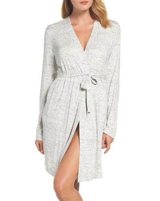 DKNY   Gray 'city Essentials' Short Robe   Lyst