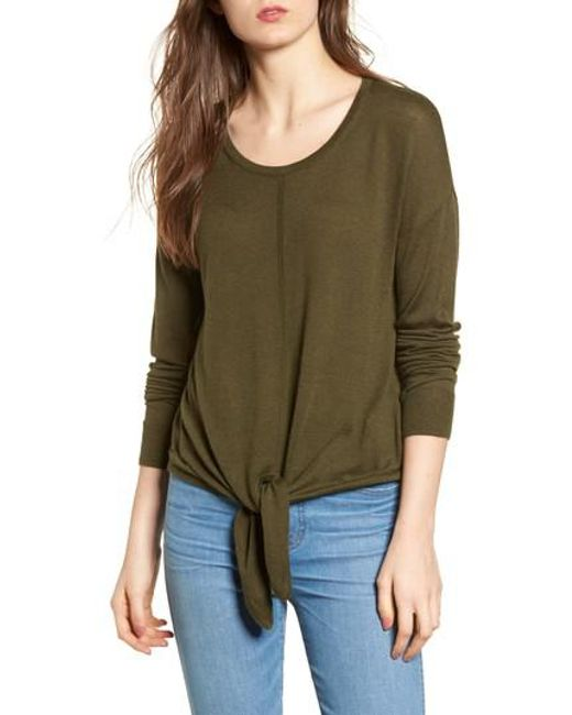 Madewell | Green Modern Tie Front Sweater | Lyst