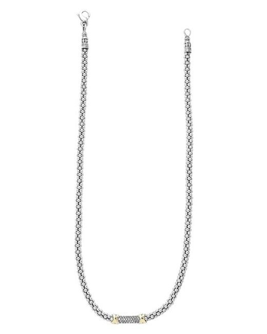 Lagos | Metallic Sterling Silver 4mm Caviar Chain Necklace | Lyst