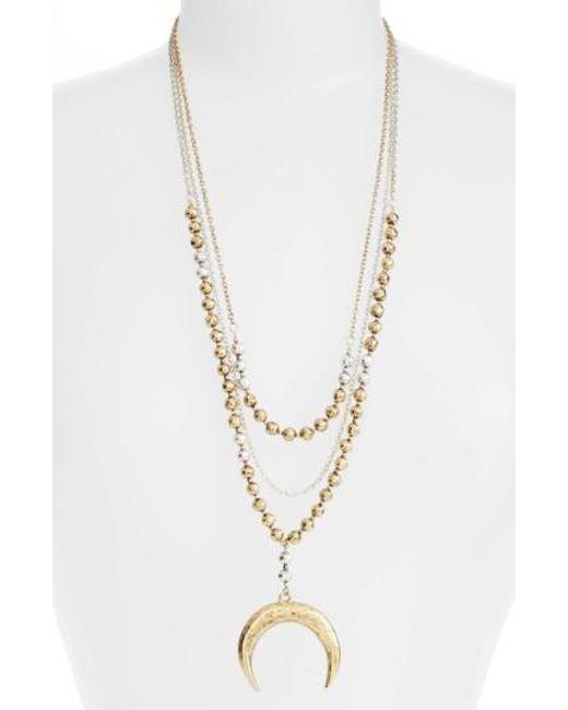 Karine Sultan   Metallic Multistrand Pandant Necklace   Lyst