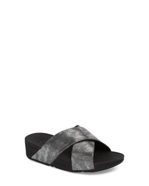 FitFlop Women's Lulu Snake Embossed Leather Platform Slide Sandals tLATPzI