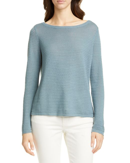 Eileen Fisher Blue Bateau Neck Organic Linen & Cotton Sweater