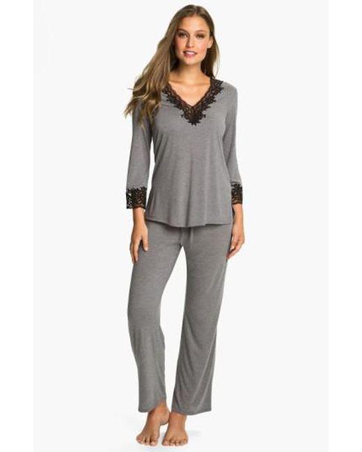 Natori - Gray 'lhasa' Pajamas - Lyst