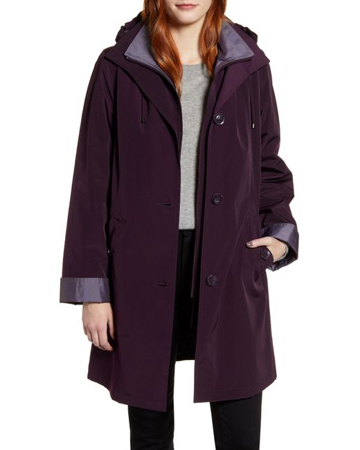 Gallery Purple Raincoat With Detachable Liner And Hood