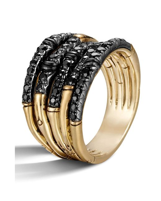 John Hardy - Metallic 'bamboo - Lava' Wide Pave Sapphire Stack Ring - Lyst