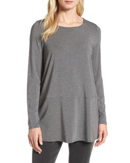 Eileen Fisher | Gray Stretch Tencel Top | Lyst