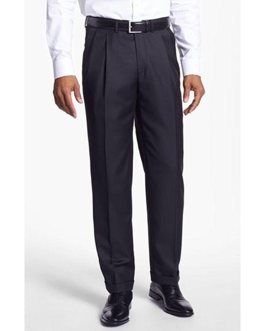 Santorelli | Black 'luxury Serge' Double Pleated Wool Trousers for Men | Lyst