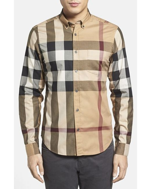 Burberry Brit | Natural 'fred' Trim Fit Sport Shirt for Men | Lyst