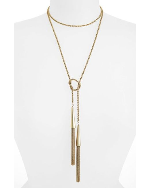 Kendra Scott | Metallic 'phara' Tassel Lariat Necklace | Lyst