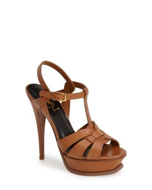 Saint Laurent | Brown Tribute Leather Sandals | Lyst