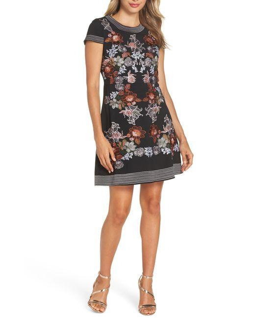 Foxiedox - Black Retro Flowers Embroidered Mini Dress - Lyst